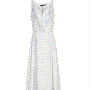 NWOT Love Moschino Blue Daisy Ruffled Neck Dress
